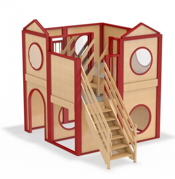 Verwinkeltes Spielhaus mit 3 Spielebenen: Schlossblick von kita-ausstatter.de