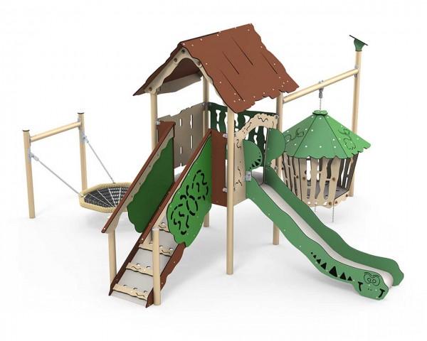 Spielanlage Hanok der Serie Explore von LEDON - Ein überdachtes Podest mit Treppenaufstieg, Vogelnestschaukel, Verlies, offener Rutsche für Kinder än