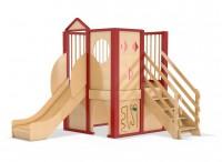 Spielburg Berti 20 mit Fensterelementen, Treppe und Rutsche