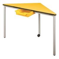Dreieck-Tisch mit Vollkernplatte PowerSurf und ErgoTray-Box als integrierte Schublade