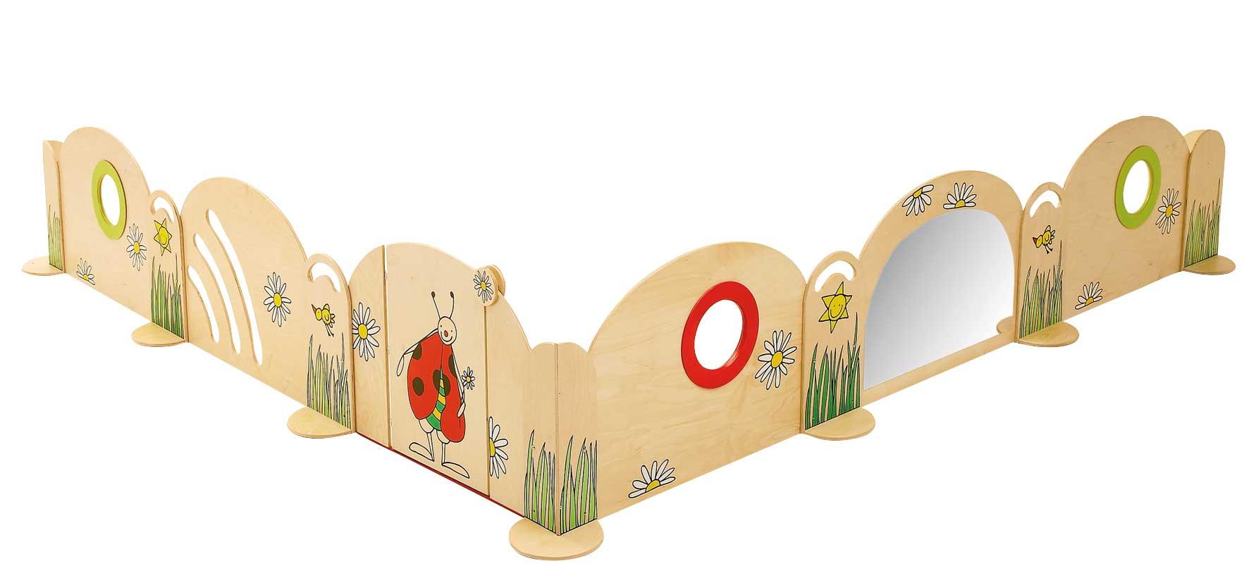 Spielecke mit Spiegel als Raumteiler Blumenwiese für Gruppenraum im Kindergarten oder Kindertagesstätte