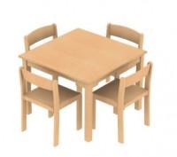 Kombi: Tisch + 4 Stühle TIM