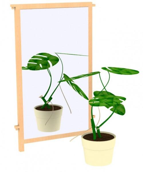 Raumteiler Maxi vorne mit Spiegel auf Holz verklebt