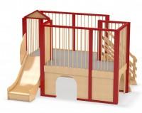 Spielburg Berti 5 seitlich mit Rutsche und Treppenaufgang