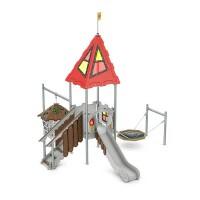 Spielanlage Bodiam Serie Castle von LEDON - Podestrutsche mit Verlies und Vogelnestschaukel für Kinder