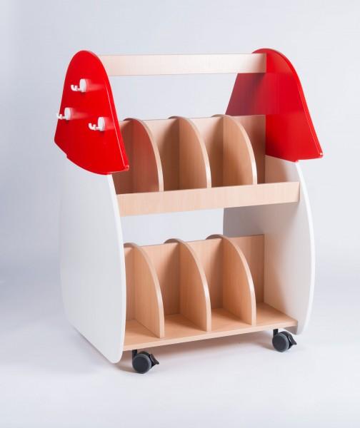 Fahrbarer Garderobenwagen mit Pilzmotiv