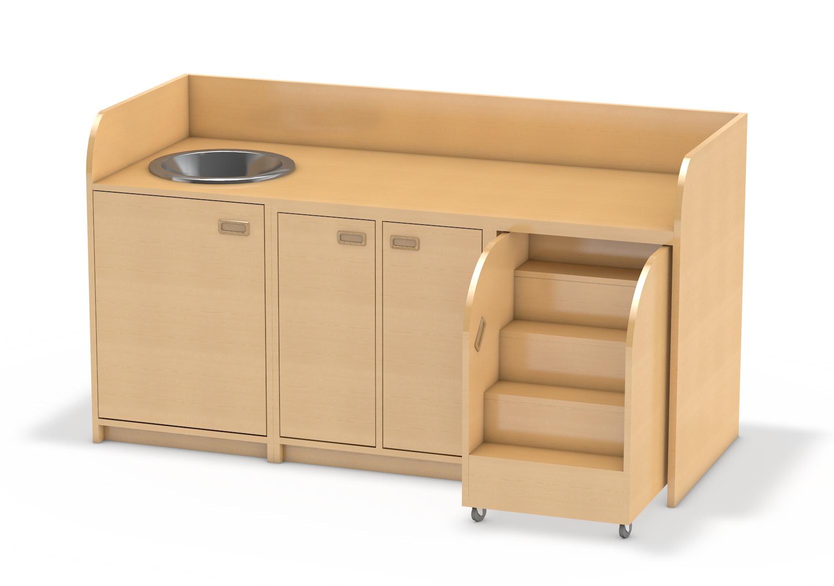 wickelkommode 185 cm mit waschbecken und 3 t ren und ausziehtreppe wickelschrank f r kita. Black Bedroom Furniture Sets. Home Design Ideas