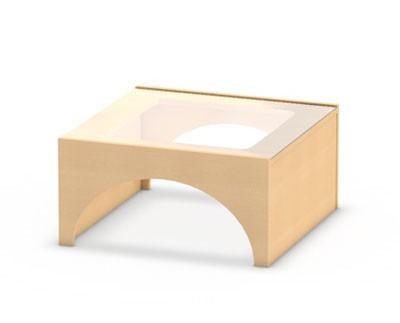 Spielpodest mit gegenürliegenden Tunnelöffnungen und Spielfläche aus Plexiglas