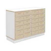 Eigentumsschrank debe.decor - B/H/T 105,6 x 77,5 x 37,2 cm mit 24 kleinen Stapelkisten als Eigentumskisten