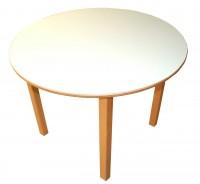 Runder Tisch Ø 100 cm debe.decor - Tischplatte 18 mm Birke Multiplex, beidseitig weiß HPL-beschichtet