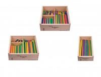 Fröbel Gabe 8 mit 1200 bunten Stäbchen aus Holz - bestehend aus Fröbel-Gabe 8-1, 8-2 und 8-3