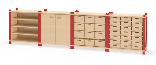 Kombination aus Schränken mit Eigentums- und Materialkästen sowie Doppeltüren aus dem System Prinova
