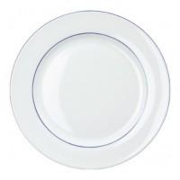 Porzellan-Geschirr Serie Heike Blaurand - Dessertteller Ø 19 cm in weiß mit blauen Dekorstreifen