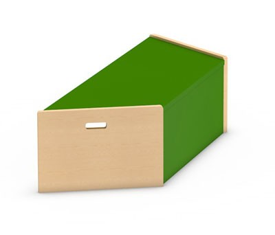 Spielpodest Trapez mit einer offenen Seiten zum Einschieben eines Rollkasten von kita-ausstatter.de