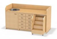 160 cm breite Wickelkommode mit Ausziehtreppe rechts und Waschbecken links -  vorne mit Tür und 5 Schubladen mittig