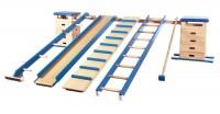 8-teilige Sprungkasten-Kombination in teilweise blauer Ausführung