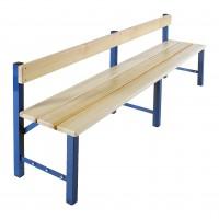 Umkleidebank aus Stahl mit Rückenlehne und Sitzauflage aus Kiefernholz