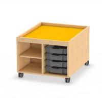 Fahrbarer Spiel- und Konstruktionstisch mit Regal und Einschübe für Kunststoffboxen