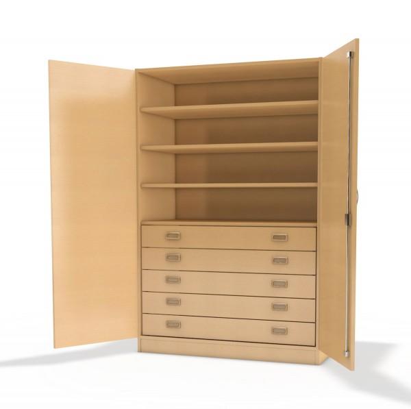 werkraumschrank mit 5 schubk sten und einlegeb den kindergartenschrank von kita. Black Bedroom Furniture Sets. Home Design Ideas