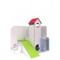 """Spiellandschaft """"Rabaukenhaus"""" debe.decor - Variante 4 mit Turm, Podest, Leiteraufgang, Rutsche + Treppe"""