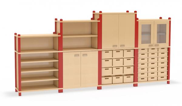 Kombination aus Schränken mit Aufsatzschränken mit Eigentums- und Materialkästen sowie Doppeltüren aus dem System Prinova