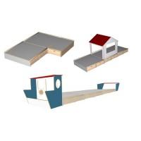 Schlafpodest-System debe.decor - Anwendungsbeispiele Ecklösung, Hausaufsatz und Frachteransatz