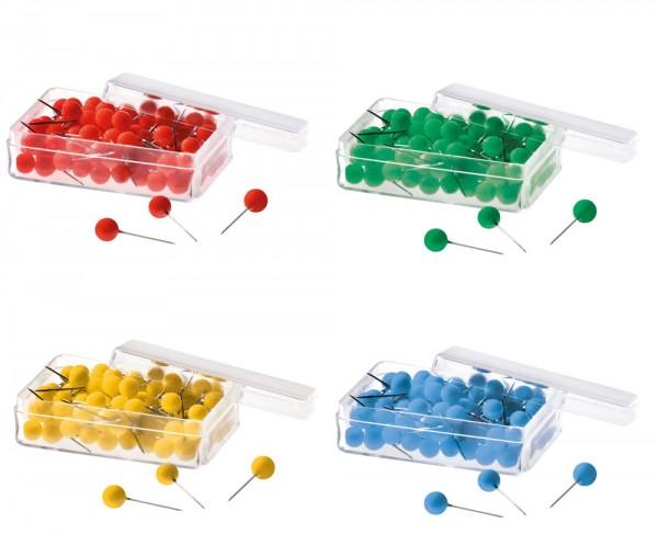 400 Pinnnadeln, 6 x 19 mm, farblich sortiert in rot, gelb, grün und blau