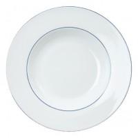 Porzellan-Geschirr Serie Heike Blaurand - Tiefer Suppenteller in weiß mit blauen Dekorstreifen