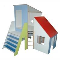 Spielhaus und Kletterhaus debe.decor - großer Eckturm mit Hausanbau