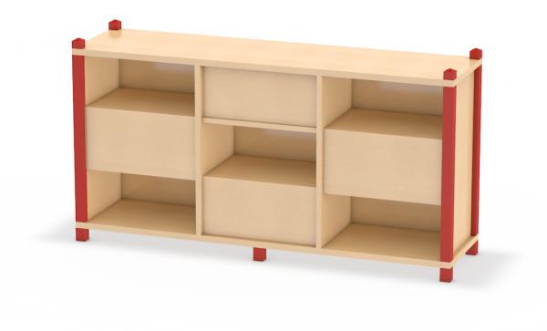 Wechselseitig offener Raumteiler in Stollenbauweise aus dem System Prinova - ideal für Kita oder Kindergarten