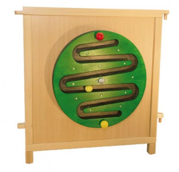 Drehbares Kugelspiel - mit 2 Drehknöpfen kann die Scheibe gedreht werden.