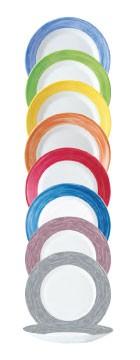 Flache Teller von arcoroc in verschiedenen Farben