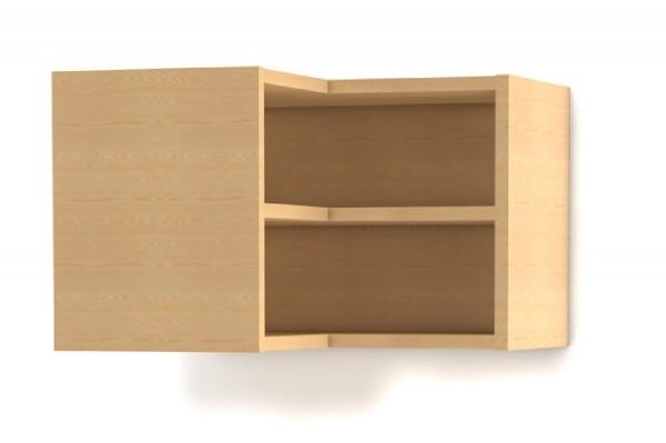 Küchen-Oberschrank als Innenecke (Hängeregal) mit 1 festen Boden