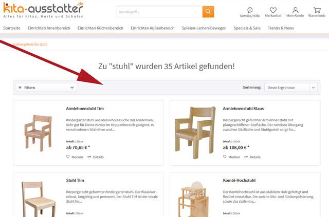 Produkte filtern auf kita-ausstatter.de