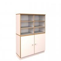 Breiter Schrank H 144,7 cm debe.decor - unten 2 Türen, oben offen, 6 verstellbare Einlegeböden
