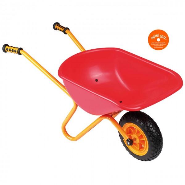Rote Schubkarre mit gelben Stahlgriffen von beleduc, Serie TopTrike.
