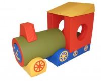 Aufbauvariante der Lokomotive in Grün-Rot - Bausteinset aus Schaumstoff für Kinder
