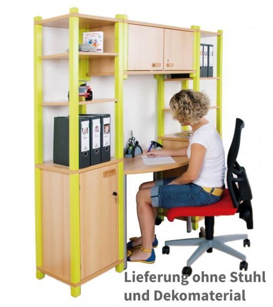Arbeitsplatz mit Schrankkombination in Stollenbauweise - wahlweise mit fester oder rollbarer Arbeitsplatte
