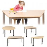 Übersicht der lieferbaren Tische mit Stahlgestell: Trapez-, Rund-, Quadrat-, Rechteck- und Halbrundtisch