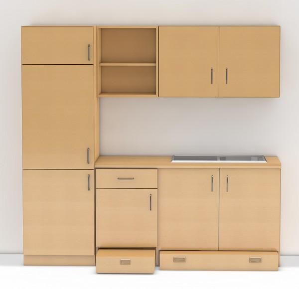 Kinderküche Erfurt mit Spülenschrank, Hochschrank für Einbaukühlschrank und Hängeschränke