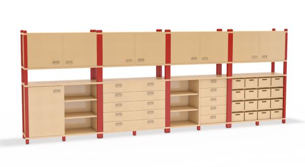 Kombination aus 106 cm breiten Hochschränken der Serie Prinova mit Materialkästen, Schubkästen und oben mit Doppeltüren