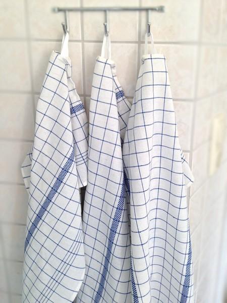 Geschirrhandtuch mit gewebtem Henkel - Karo-Design blau/weiß