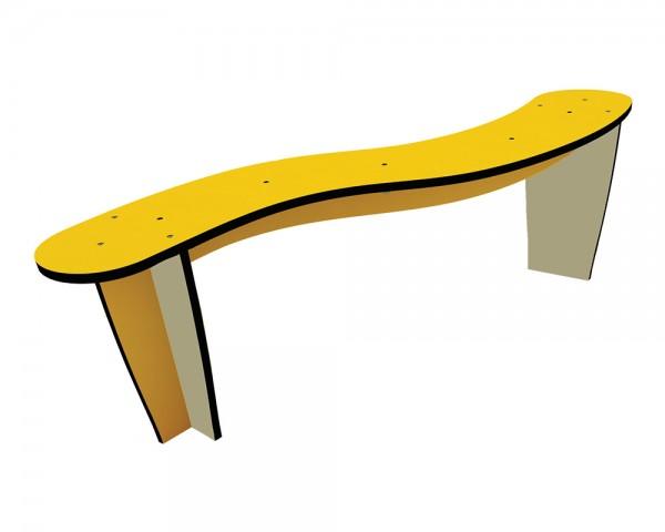 Outdoor-Sitzbank von Ledon® - geschwungene Gartensitzbank aus Kunststoff