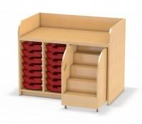 128 cm breite Wickelkommode mit Ausziehtreppe links und 14 Kunststoffboxen