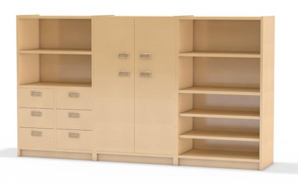 Kindergartenmöbel - Kombination aus Schränken mit Aufsatzschränken aus dem System Korpus-Classic