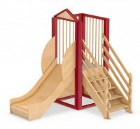 Spielburg Berti 13 als Indoor-Rutsche aus Holz für Kita oder Kindergarten