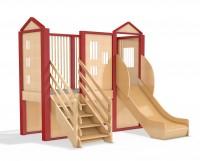 Spielburg Berti 19 mit Rutsche und Treppenaufgang für Kita oder Kindergarten