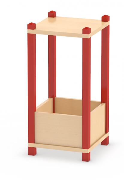 Offener Regalturm Höhe 86 cm in Stollenbauweise mit Wühlkiste aus dem System Prinova