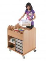 Bastelwagen Kreativo - vorne mit 4 flachen InBox-Schubladen