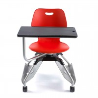 Schülerstuhl Learn2 mit Sitzschale Wave in Poppy Red mit Tablett in Schwarz
